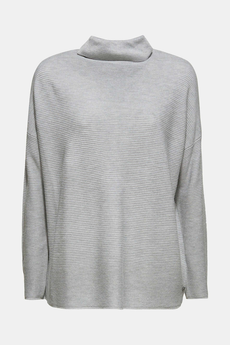 Oversized jumper with a ribbed texture, MEDIUM GREY 5, detail image number 6
