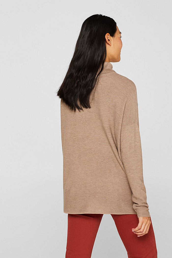 Oversized jumper with a ribbed texture, TAUPE, detail image number 3
