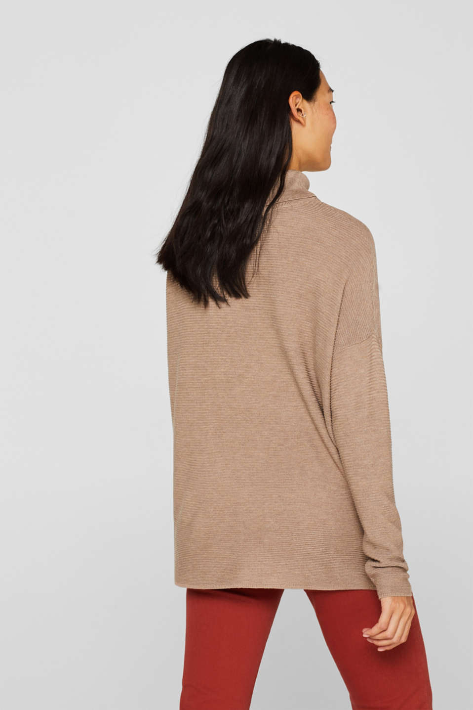 Oversized jumper with a ribbed texture, TAUPE 5, detail image number 3