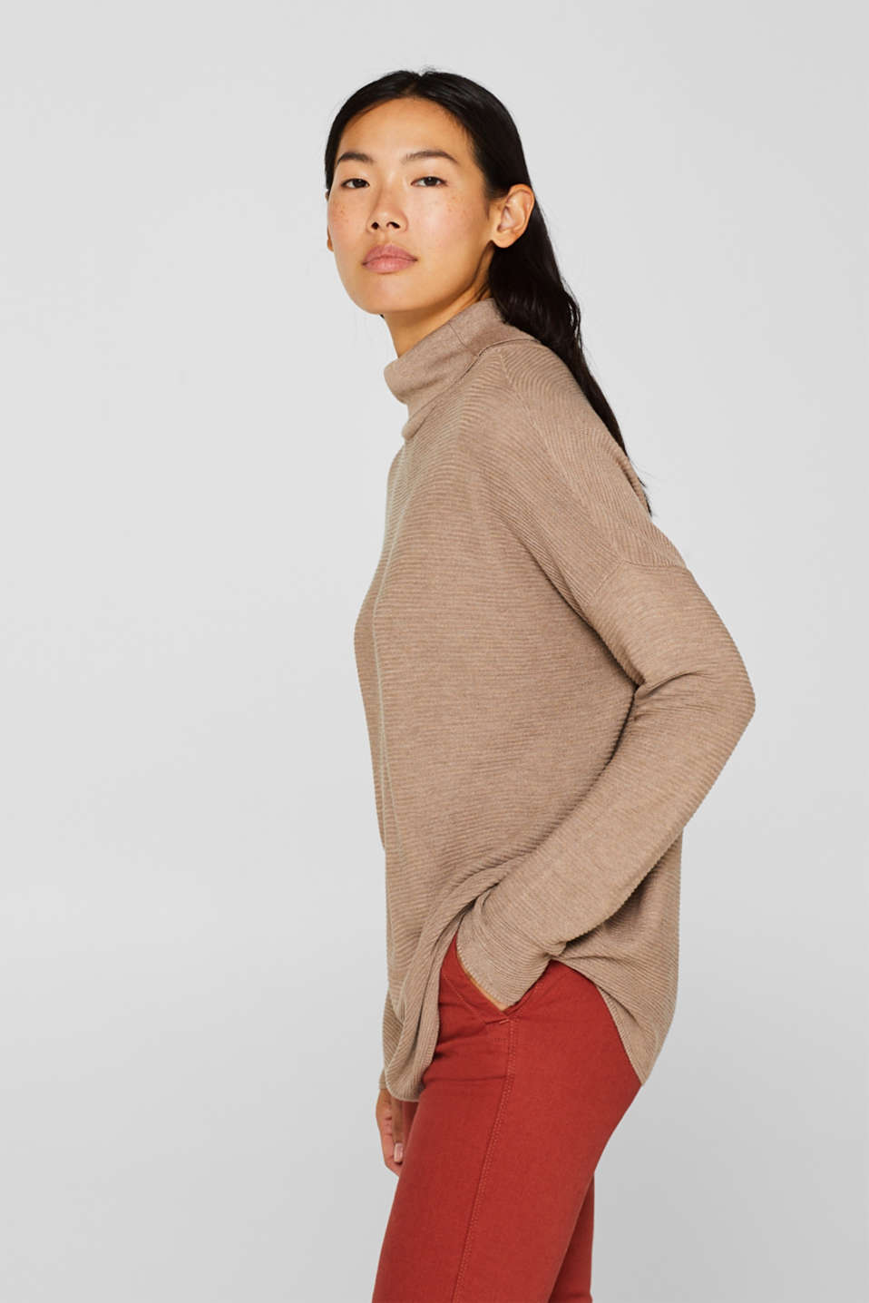 Oversized jumper with a ribbed texture, TAUPE 5, detail image number 5