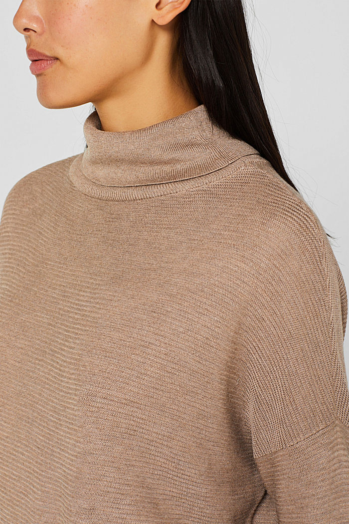 Oversized jumper with a ribbed texture, TAUPE, detail image number 2