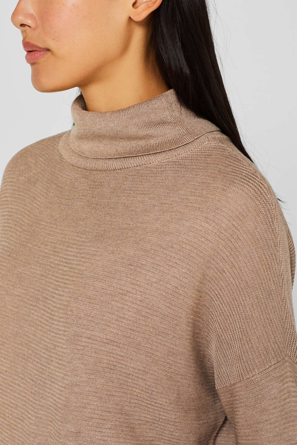 Oversized jumper with a ribbed texture, TAUPE 5, detail image number 2