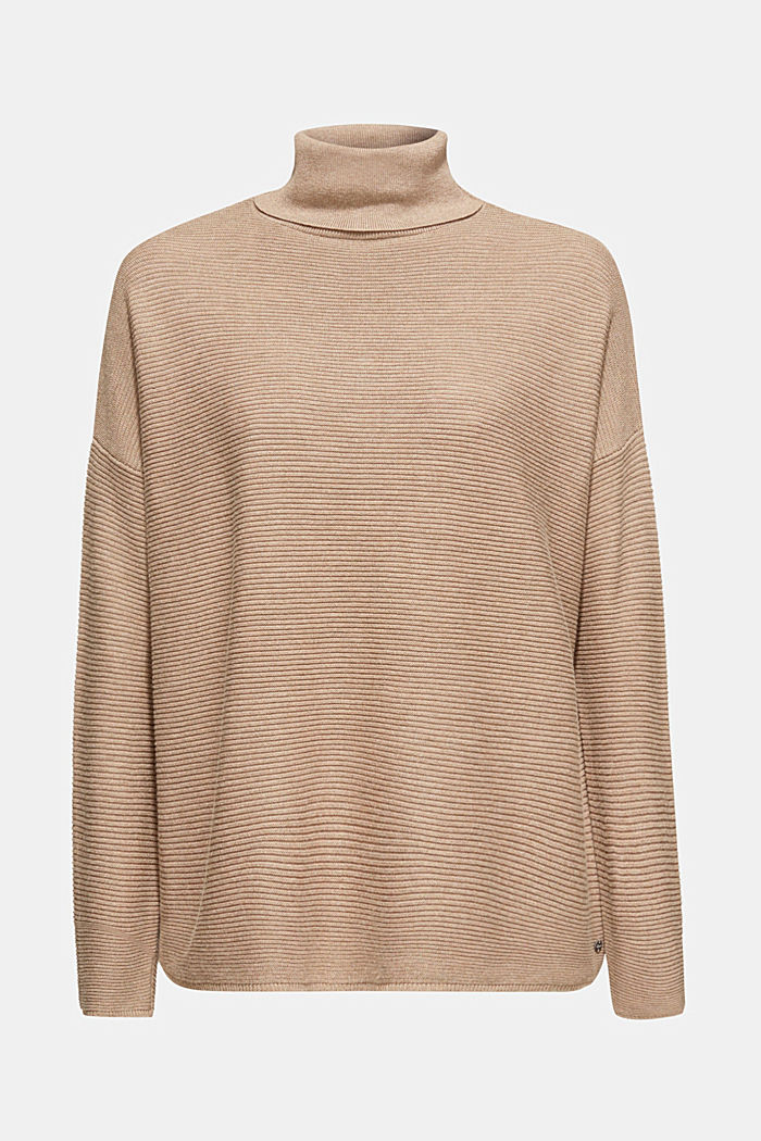 Oversized jumper with a ribbed texture, TAUPE, detail image number 6