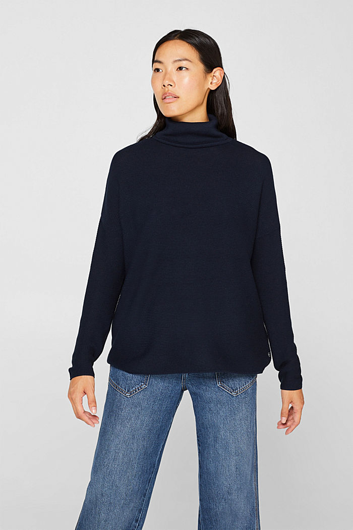 Oversized jumper with a ribbed texture, NAVY, detail image number 0