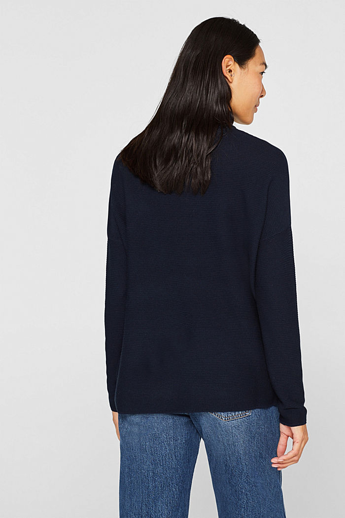 Oversized jumper with a ribbed texture, NAVY, detail image number 3