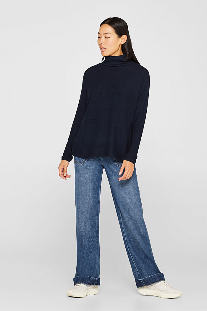 Oversized jumper with a ribbed texture, NAVY, detail image number 1