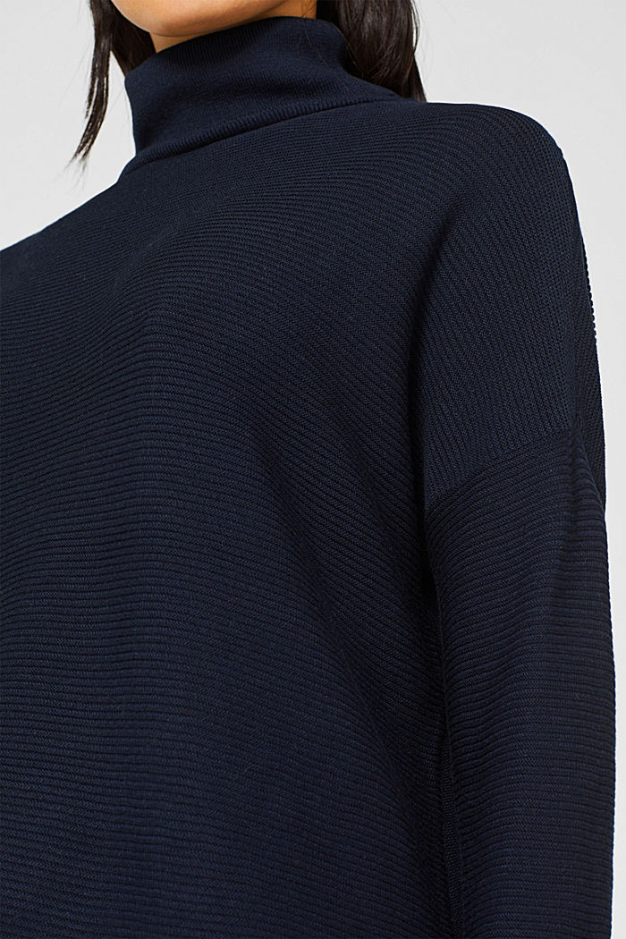 Oversized jumper with a ribbed texture, NAVY, detail image number 2