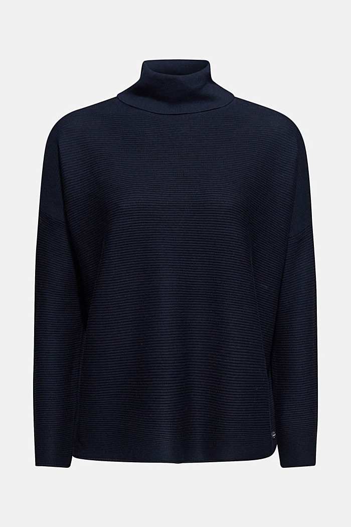 Oversized jumper with a ribbed texture, NAVY, detail image number 5