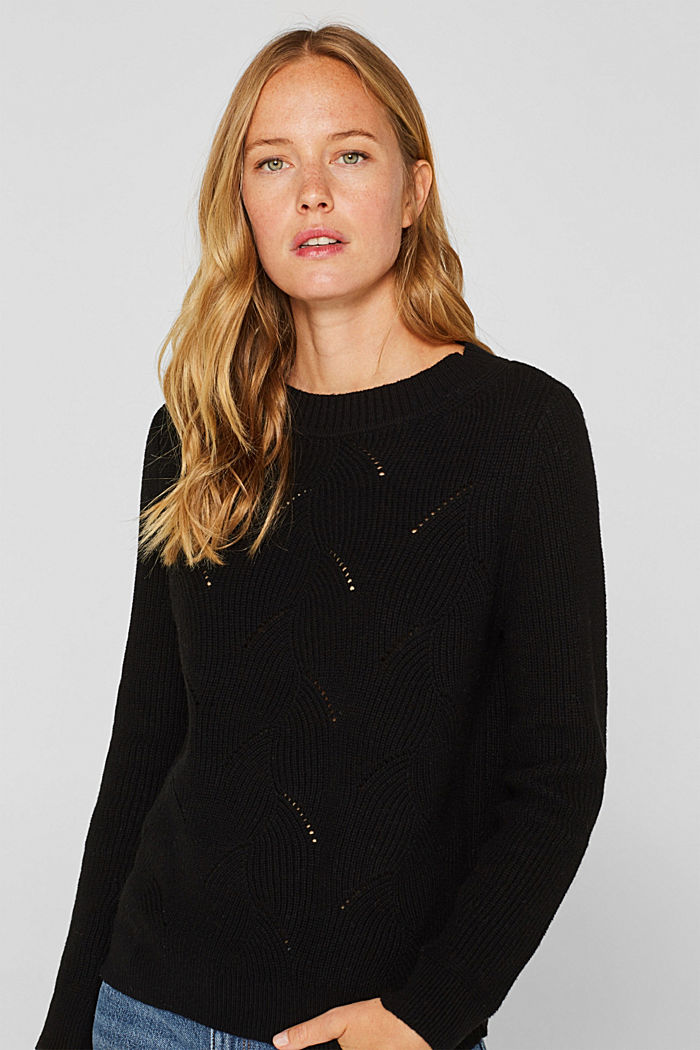 With wool: Jumper with a textured pattern, BLACK, detail image number 0