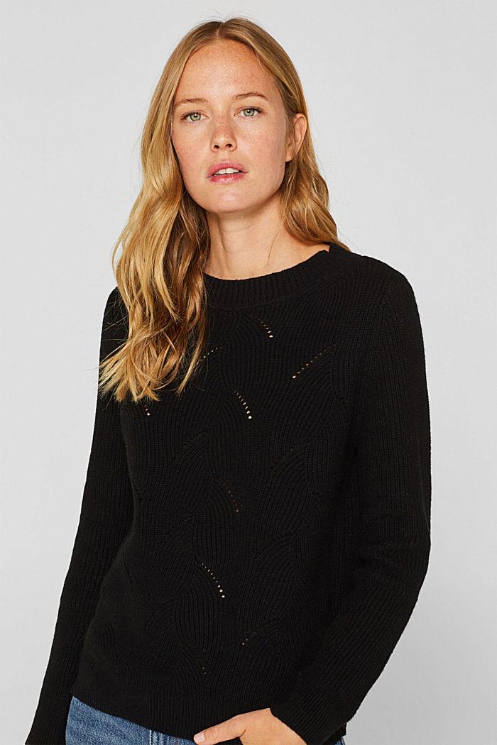 Mit Wolle: Pullover mit Struktur-Muster, BLACK, detail image number 0