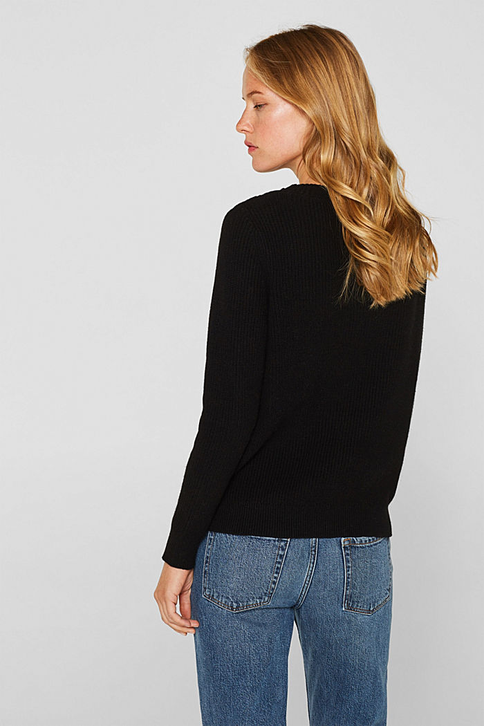 Mit Wolle: Pullover mit Struktur-Muster, BLACK, detail image number 3