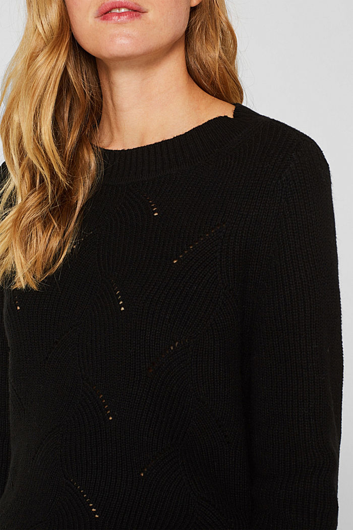 With wool: Jumper with a textured pattern, BLACK, detail image number 2
