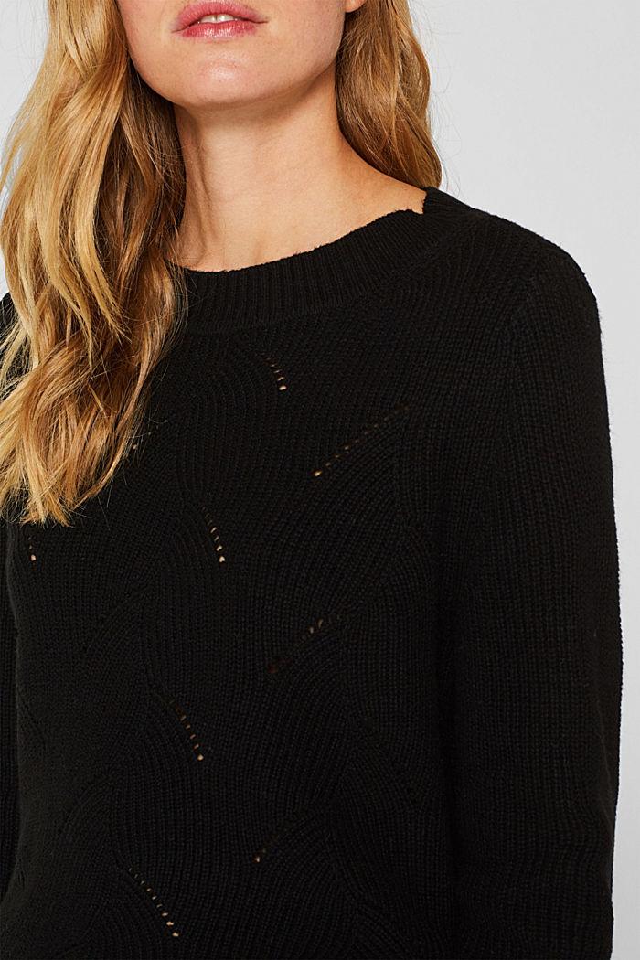 Mit Wolle: Pullover mit Struktur-Muster, BLACK, detail image number 2