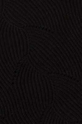 With wool: Jumper with a textured pattern, BLACK, detail