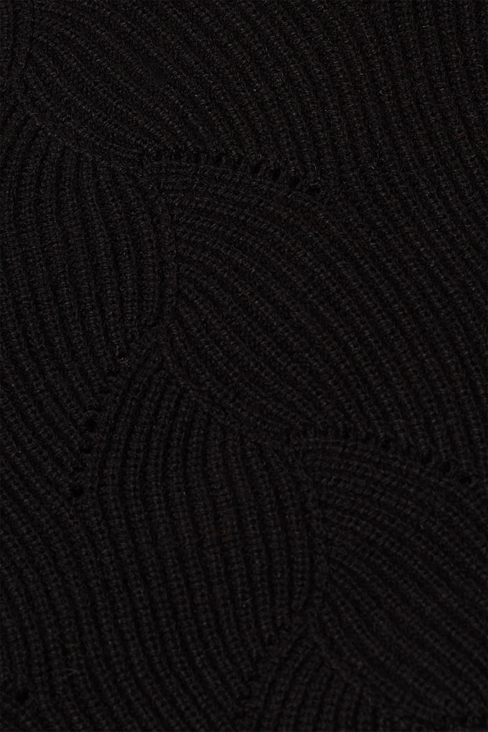 With wool: Jumper with a textured pattern, BLACK, detail image number 4