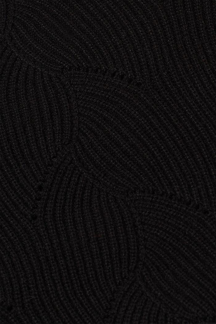 Mit Wolle: Pullover mit Struktur-Muster, BLACK, detail image number 4