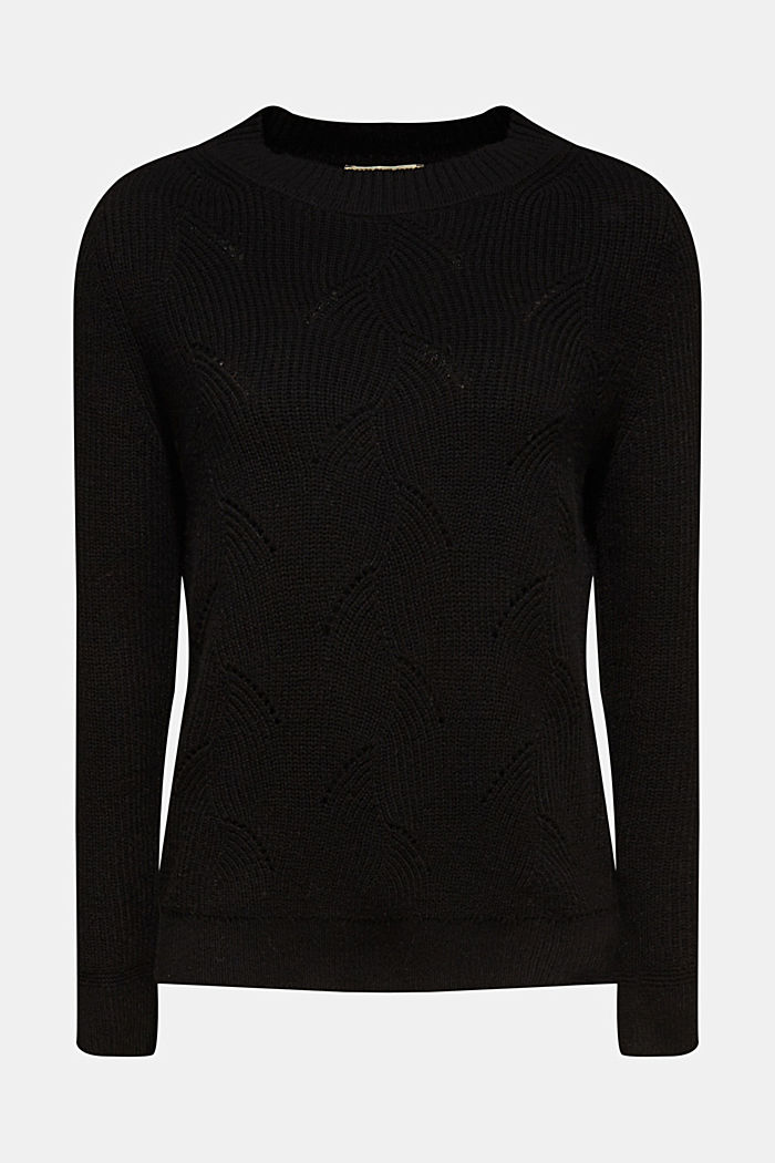With wool: Jumper with a textured pattern, BLACK, overview