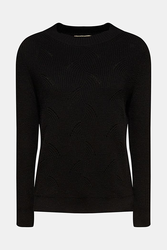 Mit Wolle: Pullover mit Struktur-Muster, BLACK, detail image number 6