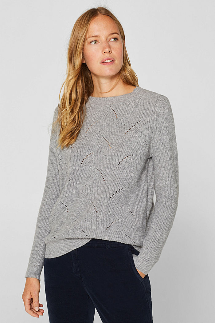 With wool: Jumper with a textured pattern, MEDIUM GREY, detail image number 0