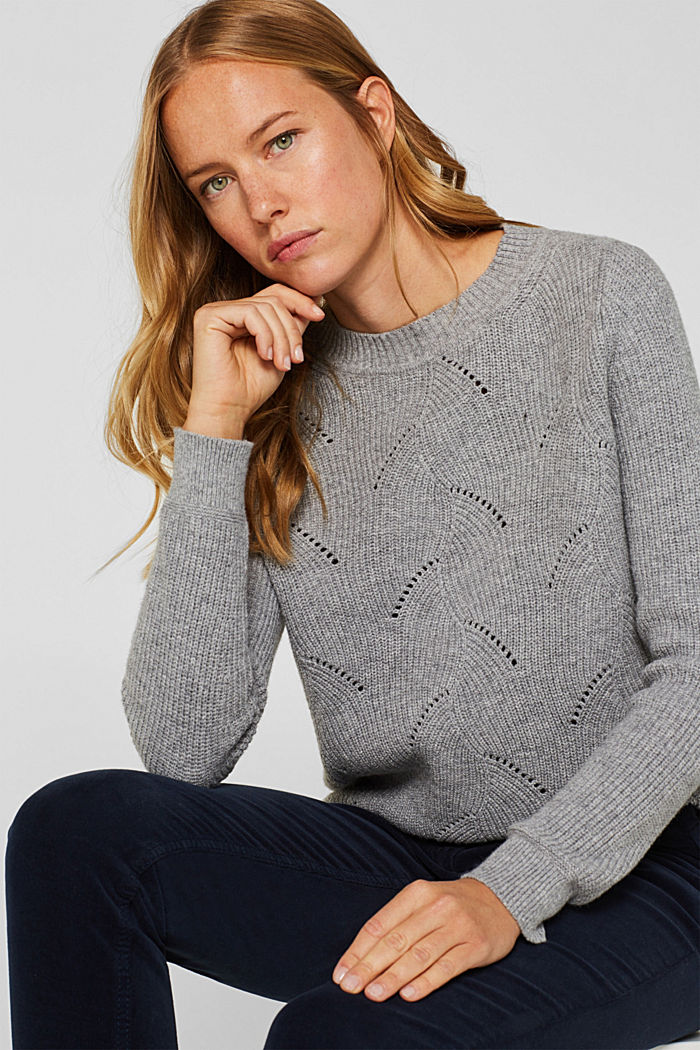 With wool: Jumper with a textured pattern, MEDIUM GREY, detail image number 5