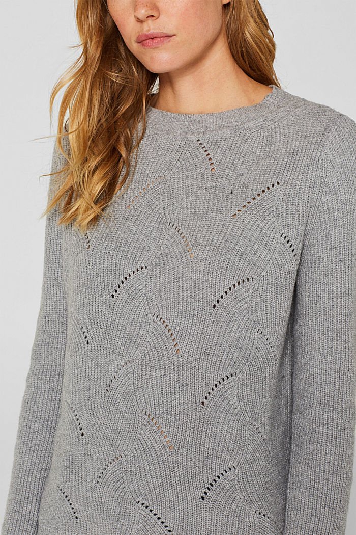 With wool: Jumper with a textured pattern, MEDIUM GREY, detail image number 2