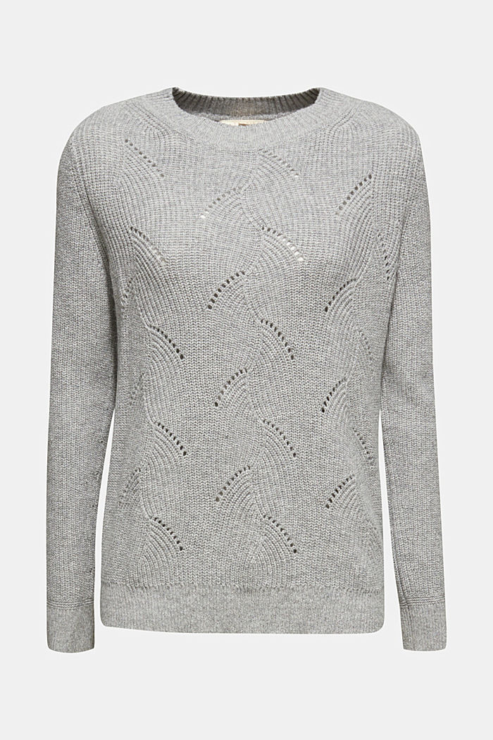 With wool: Jumper with a textured pattern, MEDIUM GREY, detail image number 6