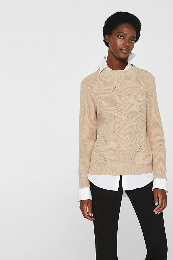 With wool: Jumper with a textured pattern, LIGHT BEIGE, detail image number 0