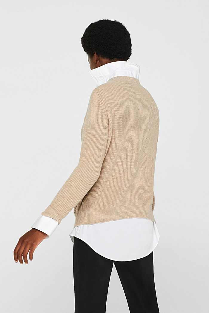 With wool: Jumper with a textured pattern, LIGHT BEIGE, detail image number 2