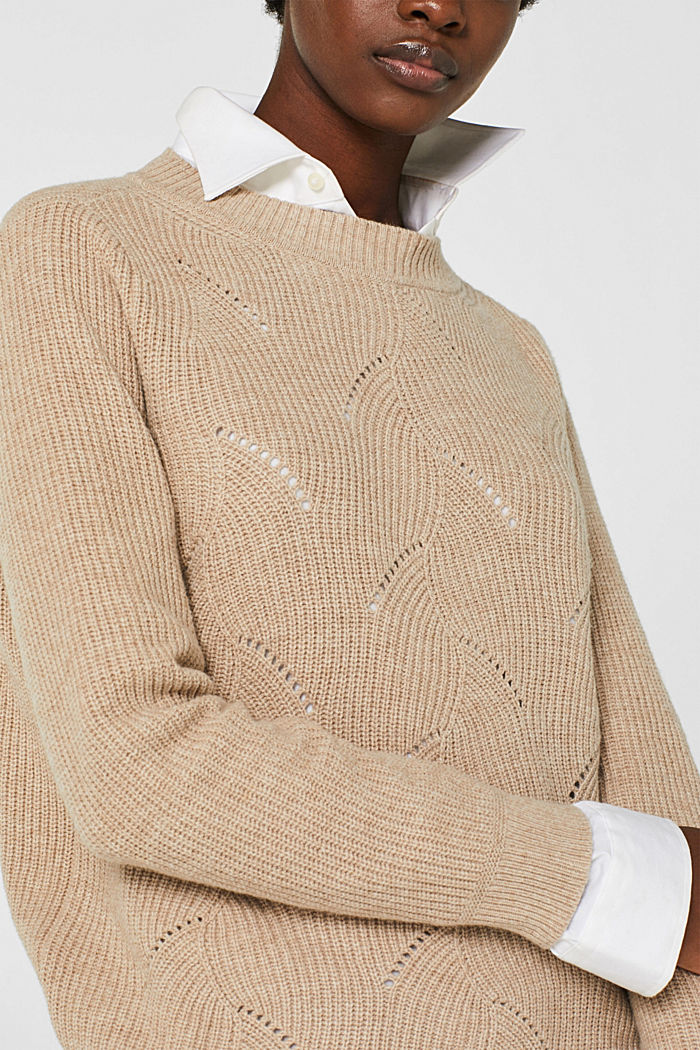 With wool: Jumper with a textured pattern, LIGHT BEIGE, detail image number 1