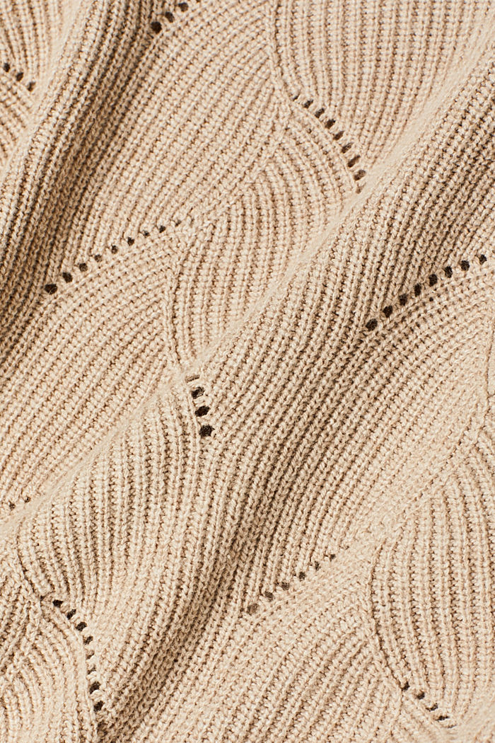 With wool: Jumper with a textured pattern, LIGHT BEIGE, detail image number 3