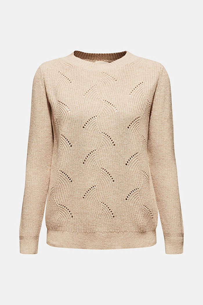 With wool: Jumper with a textured pattern, LIGHT BEIGE, detail image number 5