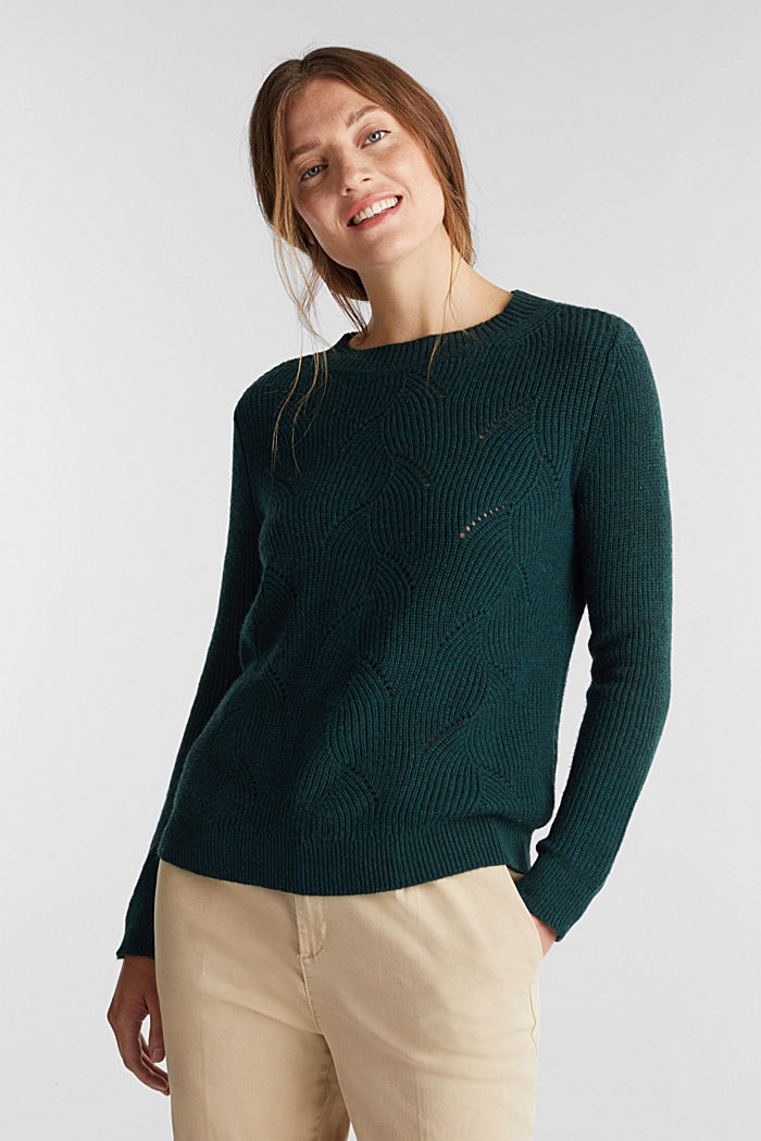 With wool: Jumper with a textured pattern, DARK TEAL GREEN, detail image number 0