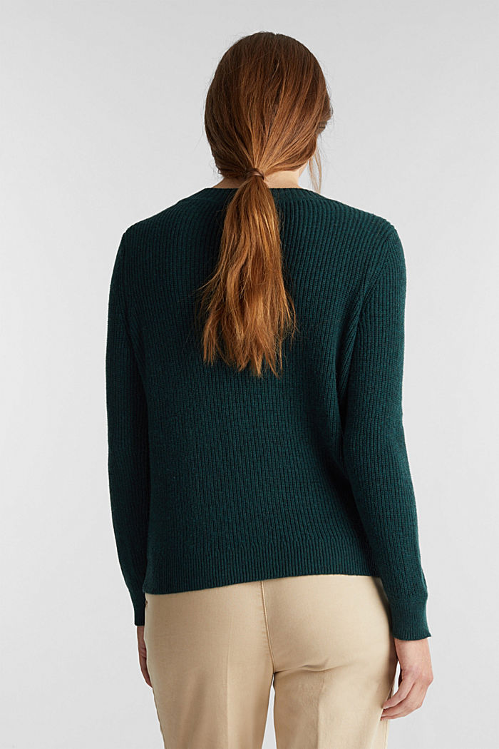 With wool: Jumper with a textured pattern, DARK TEAL GREEN, detail image number 3