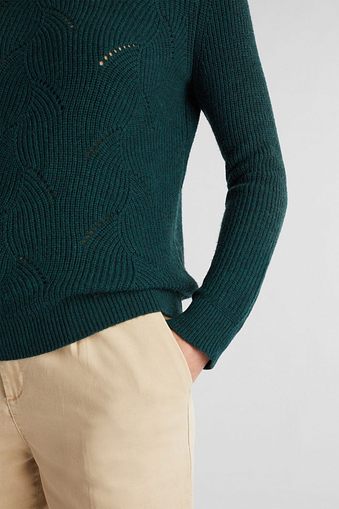 With wool: Jumper with a textured pattern, DARK TEAL GREEN, detail image number 2