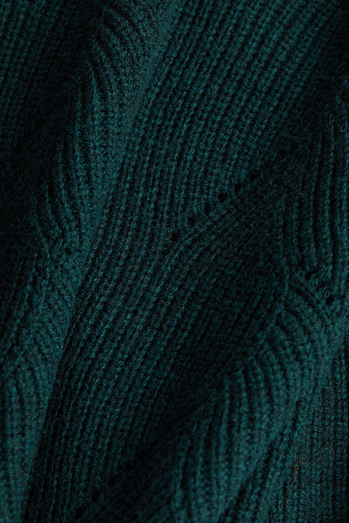 With wool: Jumper with a textured pattern, DARK TEAL GREEN, detail image number 4