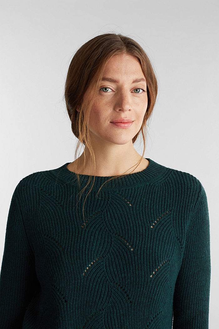 With wool: Jumper with a textured pattern, DARK TEAL GREEN, detail image number 5