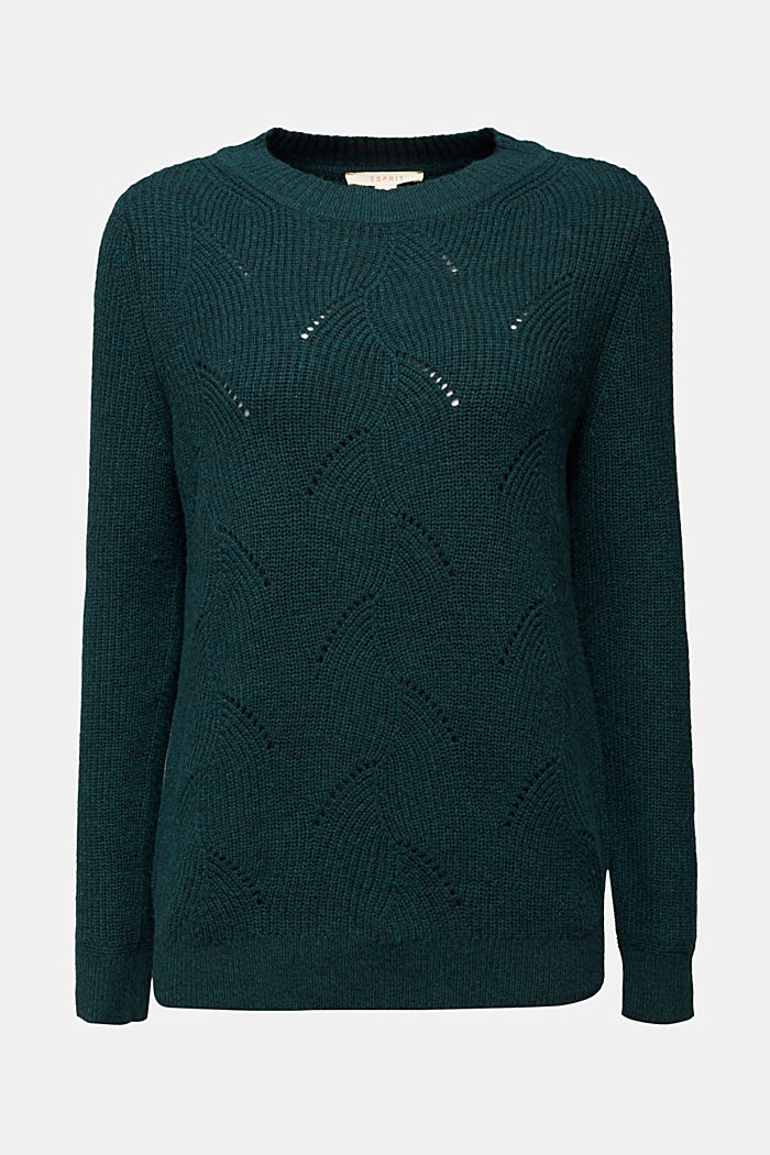 With wool: Jumper with a textured pattern, DARK TEAL GREEN, detail image number 6