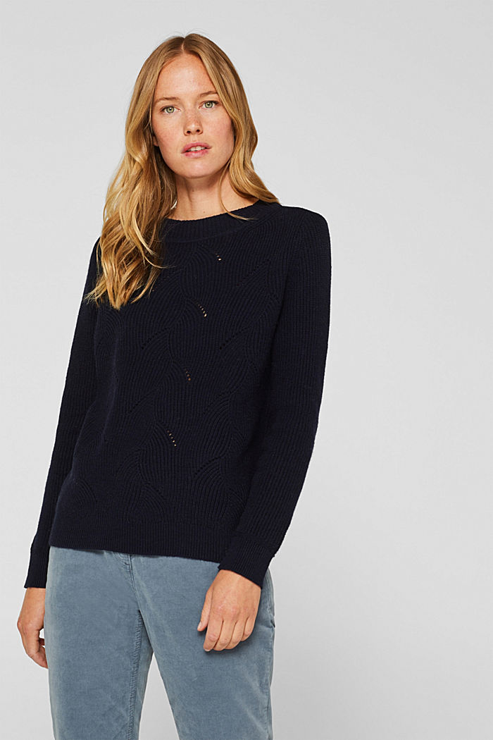With wool: Jumper with a textured pattern, NAVY, detail image number 0