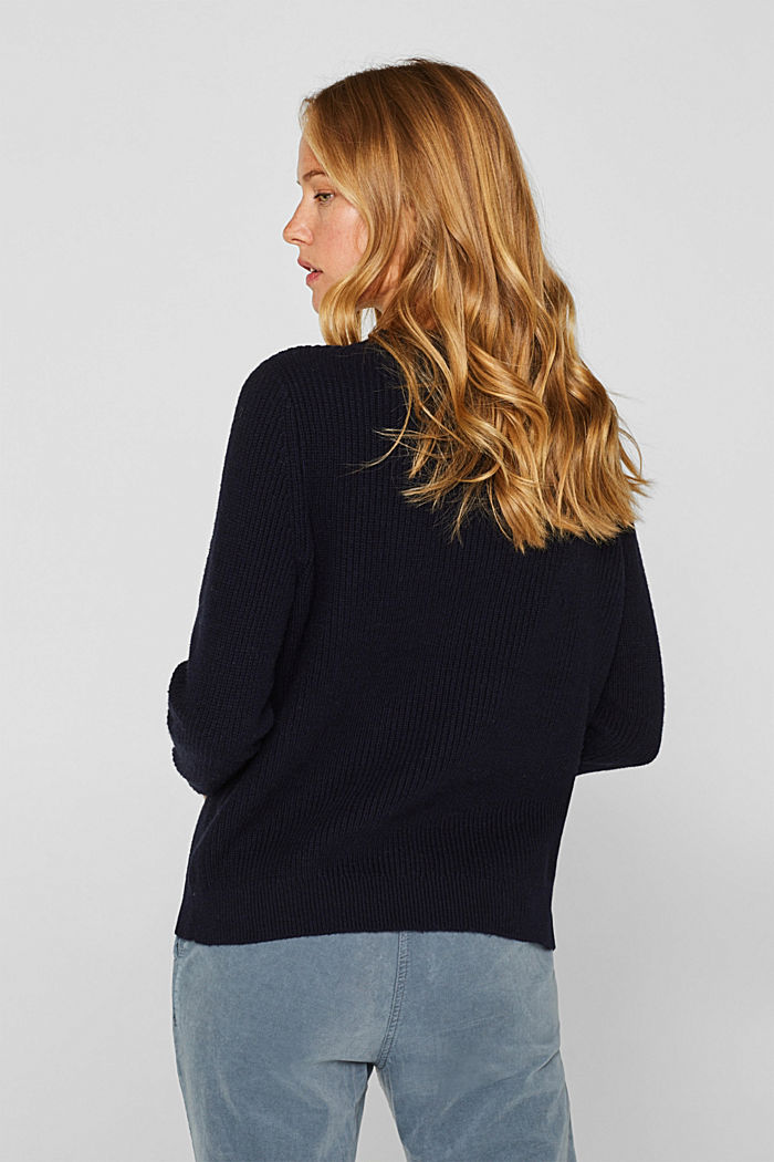 With wool: Jumper with a textured pattern, NAVY, detail image number 3