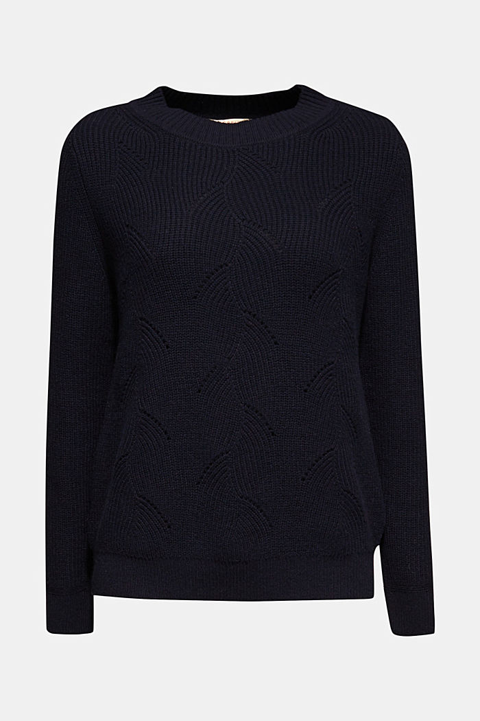 With wool: Jumper with a textured pattern, NAVY, detail image number 5