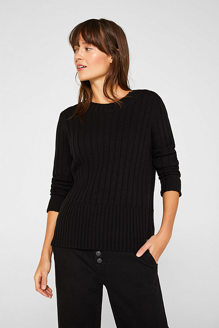 With cashmere: widely ribbed jumper, BLACK, detail image number 0