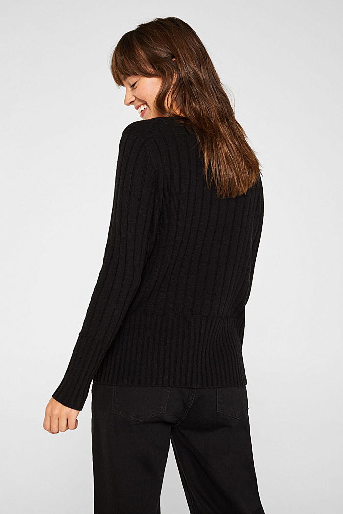 With cashmere: widely ribbed jumper, BLACK, detail image number 3