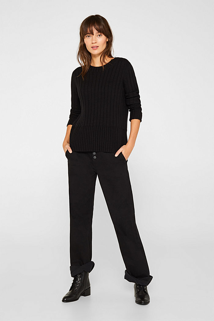 With cashmere: widely ribbed jumper, BLACK, detail image number 1
