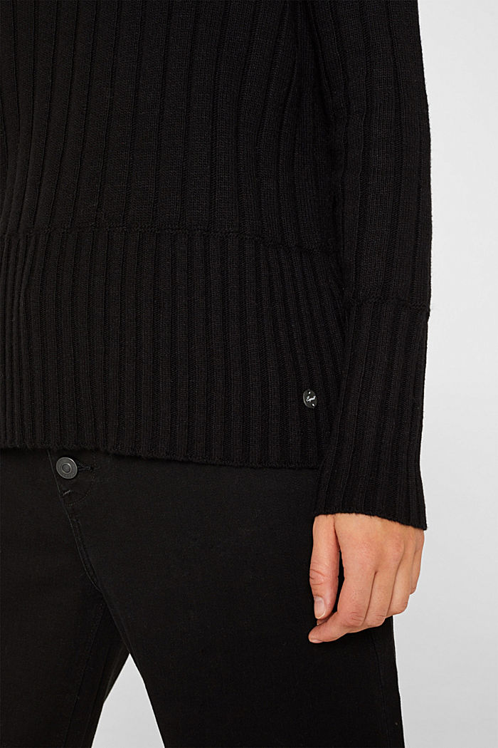 With cashmere: widely ribbed jumper, BLACK, detail image number 2