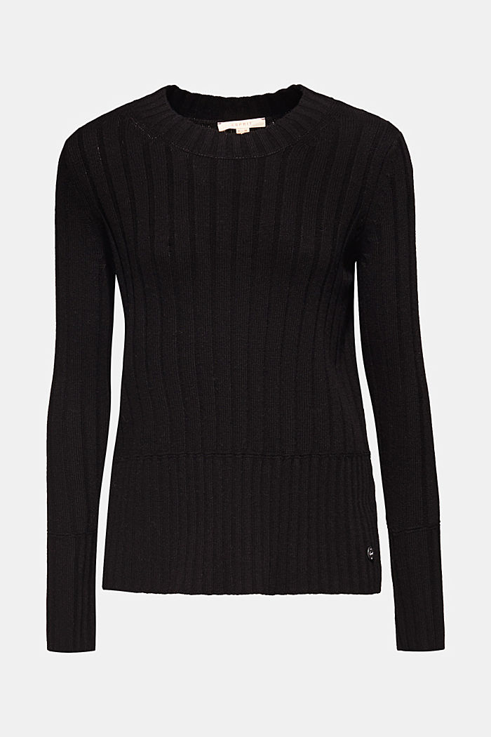 With cashmere: widely ribbed jumper, BLACK, detail image number 5