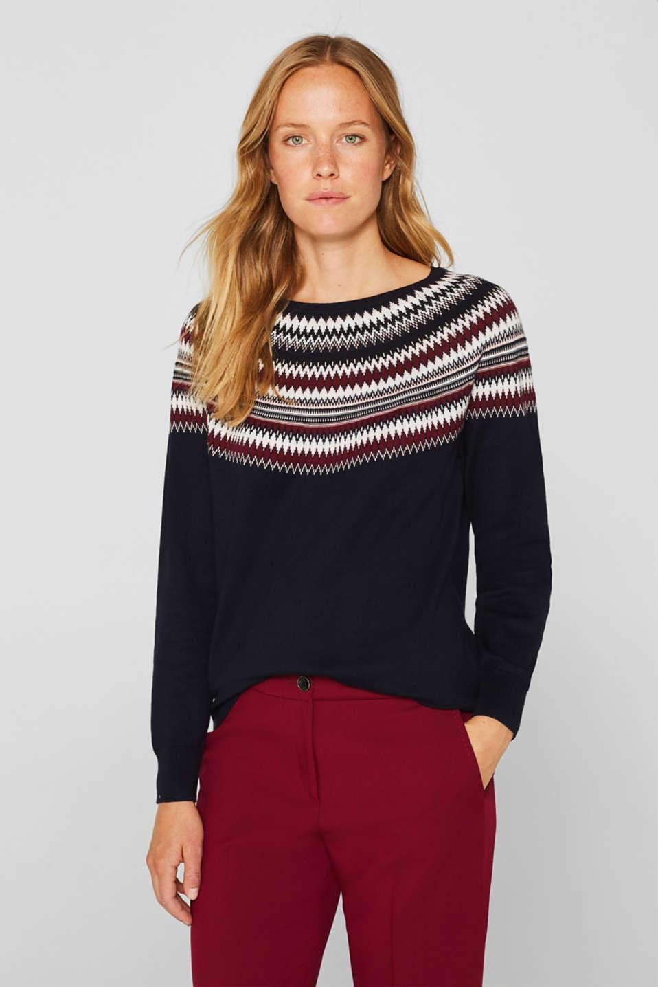 Esprit Gemusterter Pullover aus 100% Baumwolle im Online