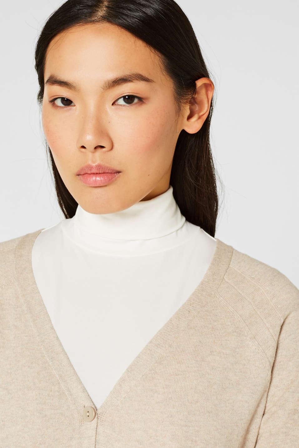 Cashmere blend: fine knit cardigan, LIGHT BEIGE 5, detail image number 0