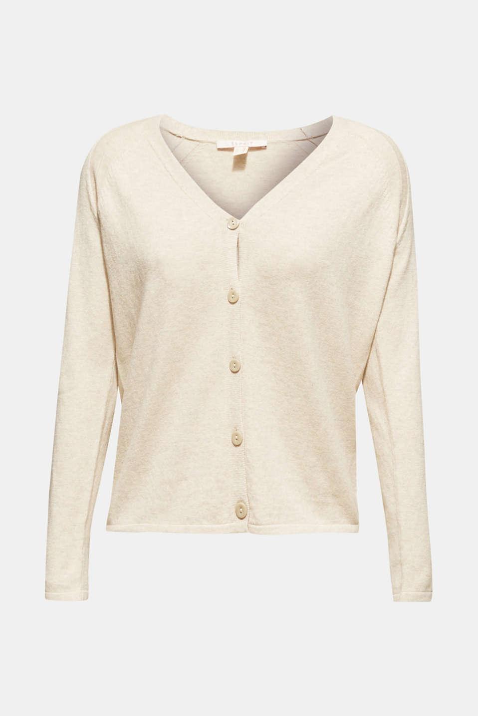Cashmere blend: fine knit cardigan, LIGHT BEIGE 5, detail image number 1