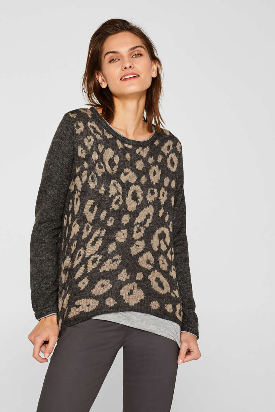 Esprit - With wool: Leopard jumper with a jersey inner section