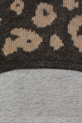 With wool: Leopard jumper with a jersey inner section, GUNMETAL 5, detail